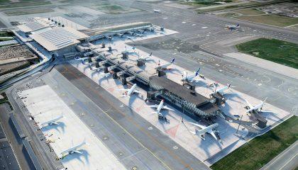 Illustrasjon av nye Gardermoen lufthavn
